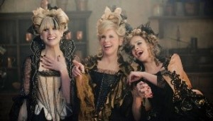 Cinderella's stepmother and her stepsisters in the Into the Woods 2014 movie. In a true form of typecasting for this role, Lucy Punch (on the right) was also in the Cinderella-based movie Ella Enchanted as Ella's stepsister Hattie.