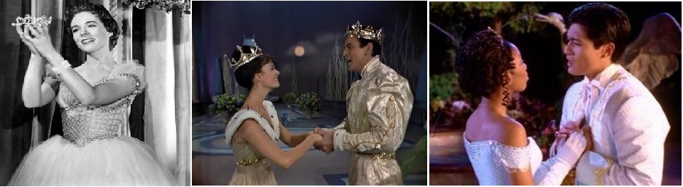 Three television renditions of Rodgers & Hammerstein's Cinderella musical. Julie Andrews in 1957, Lesley Ann Warren in 1965, and Brandy in 1997.