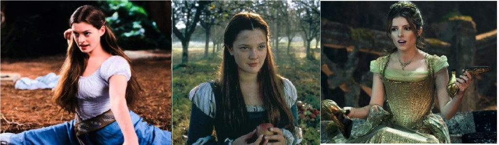 The brunette Cinderellas of Ella Enchanted (Anne Hathaway), Ever After (Drew Barrymore), and Into the Woods (Anna Kendrick).