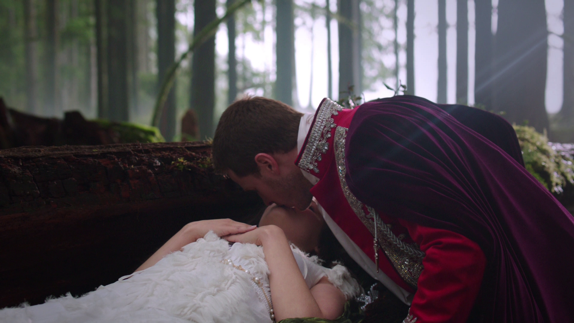 Prince Charming wakes Snow White with a kiss in the first minute of OUAT's pilot episode.
