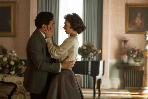 Princess Margaret and Peter Townsend as portrayed by Vanessa Kirby and Ben Miles on The Crown